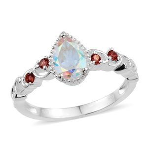 Mercury Mystic Topaz, Mozambique Garnet Sterling Silver Ring (Size 6.0) TGW 1.69 cts.