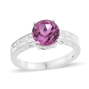 African Lilac Quartz Sterling Silver Openwork Solitaire Ring (Size 5.0) TGW 3.20 cts.