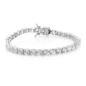 J Francis - Platinum Over Sterling Silver Bracelet (6.50 In) Made with SWAROVSKI ZIRCONIA TGW 17.00 cts.