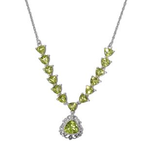 Hebei Peridot Platinum Over Sterling Silver Necklace (18 in) TGW 8.03 cts.