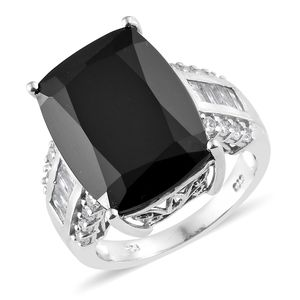 Thai Black Spinel, Cambodian Zircon Platinum Over Sterling Silver Ring (Size 8.0) TGW 24.35 cts.