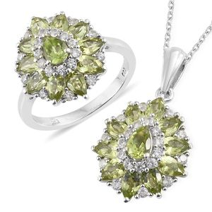 Hebei Peridot, Cambodian Zircon Platinum Over Sterling Silver Ring (Size 9) and Pendant With Chain (20 in) TGW 6.65 cts.
