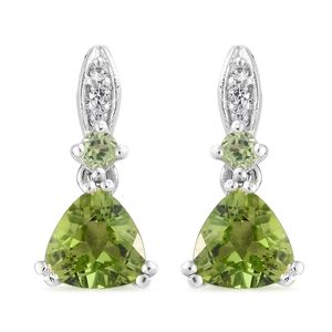 Hebei Peridot, Cambodian Zircon Platinum Over Sterling Silver Earrings TGW 2.92 cts.