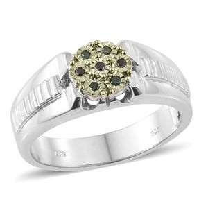 Green Diamond (IR) Platinum Over Sterling Silver Men's Ring (Size 11.0) TDiaWt 0.10 cts, TGW 0.10 cts.