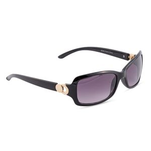 VOX-Black UV Protected Impact Resistance Fashion Sunglasses with Goldtone Hinge