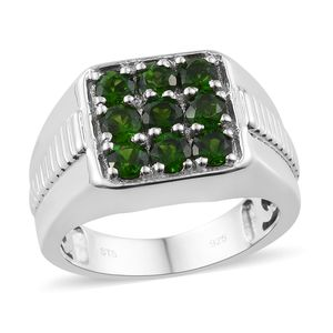 Russian Diopside Platinum Over Sterling Silver Checkerboard Men's Ring (Size 12.0) TGW 1.75 cts.