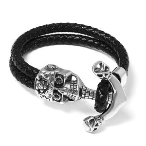 For Halloween Genuine Leather & Black Oxidized Stainless Steel Skull Bracelet (8.50 In)