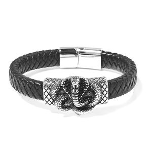For Halloween Genuine Leather & Black Oxidized Stainless Steel Cobra Bracelet (8.50 In)