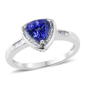 14K WG Premium AAA Tanzanite, Diamond Ring (Size 7.0) TDiaWt 0.37 cts, TGW 2.40 cts.
