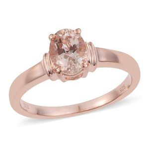 Marropino Morganite Vermeil RG Over Sterling Silver Solitaire Ring (Size 8.0) TGW 1.05 cts.