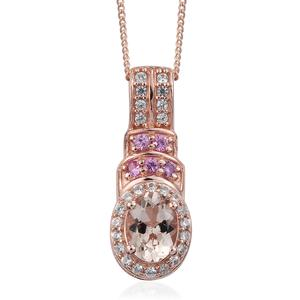 Marropino Morganite, Multi Gemstone Vermeil RG Over Sterling Silver Pendant With Chain (20 in) TGW 1.54 cts.