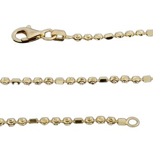 14K YG Over Sterling Silver Diamond Cut Bead Chain (18 in)