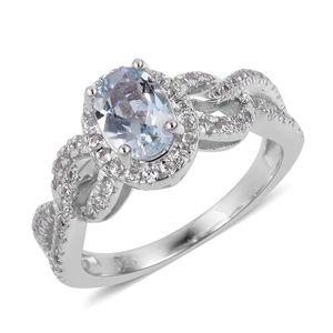 Espirito Santo Aquamarine, White Zircon Sterling Silver Ring (Size 7.0) TGW 1.31 cts.
