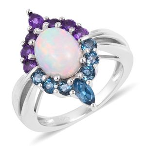 Dan's Collector Deal Ethiopian Welo Opal, Multi Gemstone Sterling Silver Ring (Size 7.0) TGW 2.35 cts.