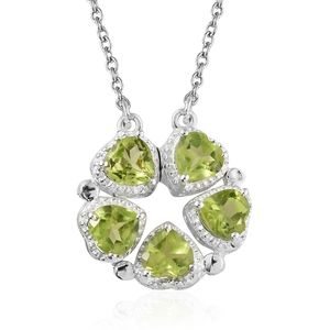 Hebei Peridot Sterling Silver Necklace with Stainless Steel Chain (18 in) TGW 2.15 cts.