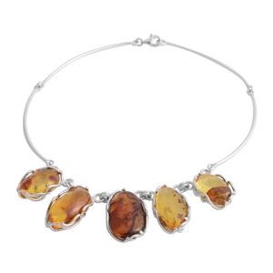 Baltic Amber, Yellow Amber Sterling Silver Necklace (17 in)