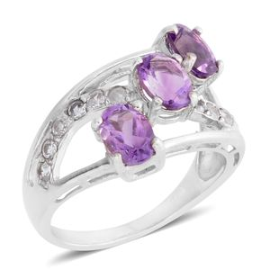 Rose De Maroc Amethyst, White Zircon Platinum Over Sterling Silver Ring (Size 8.0) Total Gem Stone Weight 2.91 Carat