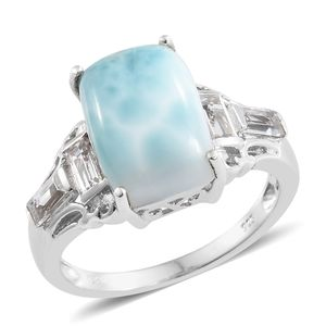 Larimar, White Topaz Platinum Over Sterling Silver Ring (Size 7.0) TGW 8.15 cts.