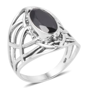 Bali Legacy Collection Thai Black Spinel Sterling Silver Ring (Size 7.0) TGW 4.15 cts.