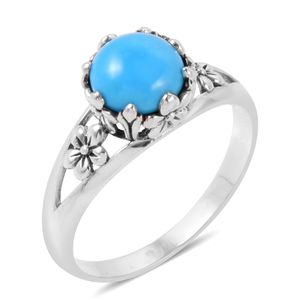 Bali Legacy Collection Arizona Sleeping Beauty Turquoise Sterling Silver Floral Solitaire Ring (Size 5.0) TGW 1.64 cts.