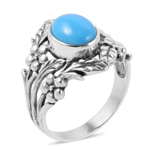 Bali Legacy Collection Arizona Sleeping Beauty Turquoise Sterling Silver Ring (Size 7.0) TGW 2.15 cts.