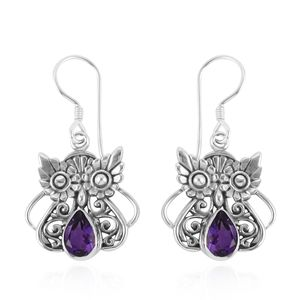 Bali Legacy Collection Moroccan Amethyst Sterling Silver Wise Owl Earrings TGW 2.42 cts.