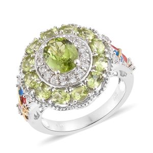 Hebei Peridot, Cambodian Zircon, Enameled Vermeil YG and Platinum Over Sterling Silver Ring (Size 7.0) TGW 4.68 cts.