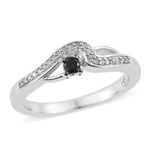 Black Diamond (IR), Diamond Platinum Over Sterling Silver Ring (Size 7.0) TDiaWt 0.20 cts, TGW 0.20 cts.