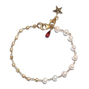 GP Freshwater Pearl, Multi Gemstone 14K YG Over Sterling Silver Bracelet with Charm (7.25 In) TGW 2.03 cts.