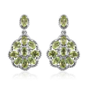 Hebei Peridot Platinum Over Sterling Silver Earrings TGW 4.10 cts.