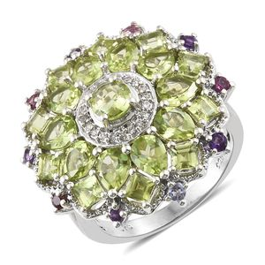Hebei Peridot, Multi Gemstone Platinum Over Sterling Silver Ring (Size 7.0) TGW 6.47 cts.
