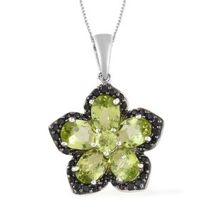 Hebei Peridot, Thai Black Spinel Black Rhodium & Platinum Over Sterling Silver Flower Pendant With Chain (20 in) TGW 4.98 cts.
