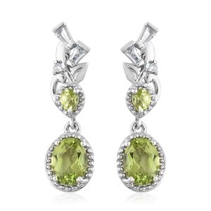 Hebei Peridot, White Topaz Platinum Over Sterling Silver Drop Earrings TGW 3.37 cts.