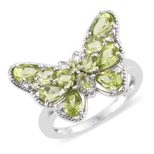 Hebei Peridot Platinum Over Sterling Silver Butterfly Ring (Size 8.0) TGW 3.82 cts.
