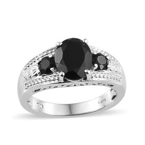 KARIS Collection - Thai Black Spinel Platinum Bond Brass Ring (Size 7.0) TGW 4.00 cts.