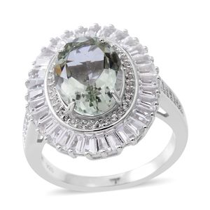 Green Amethyst, White Topaz Sterling Silver Halo Ring (Size 7.0) TGW 8.08 cts.