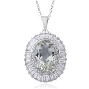 Green Amethyst, White Topaz Sterling Silver Halo Pendant With Chain (18 in) TGW 7.96 cts.