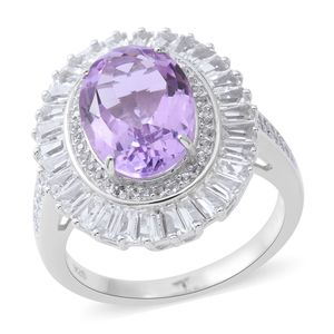 Rose De France Amethyst, White Topaz Sterling Silver Halo Ring (Size 11.0) TGW 8.03 cts.