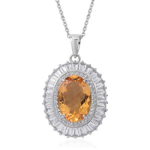 July 4th DOORBUSTER Brazilian Citrine, White Topaz Sterling Silver Halo Pendant With Chain (18 in) TGW 7.83 cts.