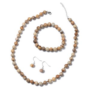 Picture Jasper Beads Sterling Silver Bracelet (Stretchable), Earrings and Necklace (18.00 In) TGW 283.50 cts.