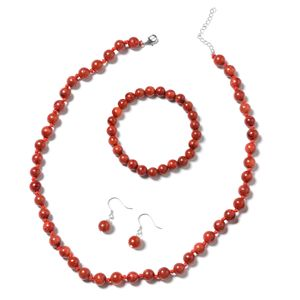 Enhanced Coral Beads Sterling Silver Bracelet (Stretchable), Earrings and Necklace (18.00 In) TGW 150.50 cts.