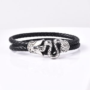 For Halloween Genuine Leather & Black Oxidized Stainless Steel Snake Bracelet (8.50 In)