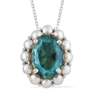 Peacock Quartz, Freshwater Pearl Platinum Over Sterling Silver Pendant With Chain (20 in) TGW 5.20 cts.