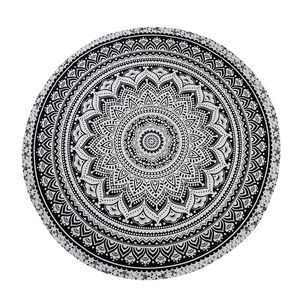 Black and White 100% Cotton Hand Printed Tribal Beach Mat (72 in)
