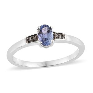 Tanzanite, Natural Champagne Diamond Accent Platinum Over Sterling Silver Ring (Size 7.0) TGW 0.64 cts.