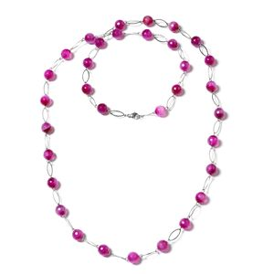 Fuschia Agate Enhanced Stainless Steel Necklace (44 in) TGW 350.000 Cts. TGW 350.00 Cts.