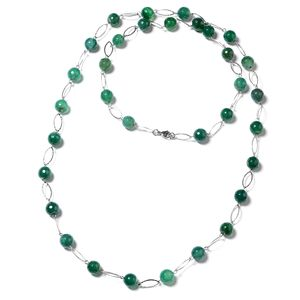 Enhanced Green Agate Beads Stainless Steel Necklace (44 in) TGW 350.00 cts.
