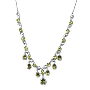 Hebei Peridot, Cambodian Zircon Platinum Over Sterling Silver Drop Necklace (18 in) TGW 12.43 cts.