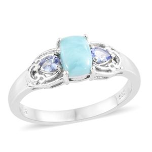 Larimar, Tanzanite Platinum Over Sterling Silver Ring (Size 7.0) TGW 1.40 cts.