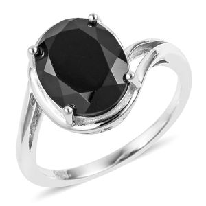 Thai Black Spinel Sterling Silver Solitaire Ring (Size 7.0) TGW 3.25 cts.